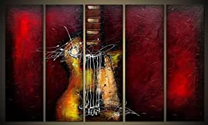Wieco Art 5 Panels Abstract Music Oil Paintings on Canvas Wall Art for Living Room Bedroom Home Office Decorations Guitar Passion Large Modern Gallery Wrapped 100% Hand Painted Grace Artwork Decor L