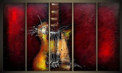 Wieco Art - Guitar Passion Large Modern 5 Panels 100% Hand Painted Framed Abstract Music Oil Paintings on Canvas Wall Art Ready to Hang for Living Room Bedroom Home Office Decorations 5 pcs/set