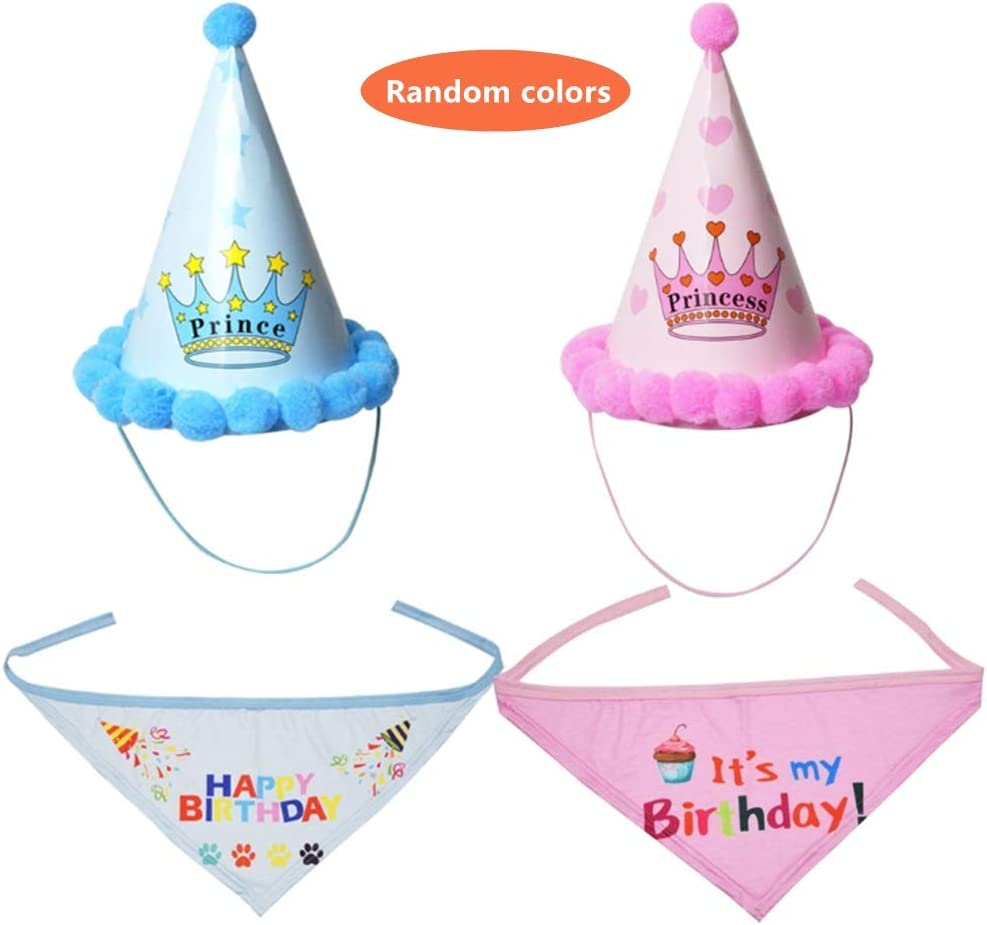 KHLZ US Dog Birthday Bandana & Hat, Dog Birthday Bandana Scarf with Cute Doggie Birthday Party Hat, Party Decorations for Dogs, Puppy Chew Toys Gift for Dogs : Pet Supplies