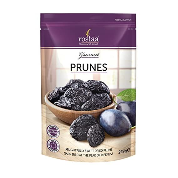 Rostaa Prunes Pitted Dried Plumps Pouch, 227 g