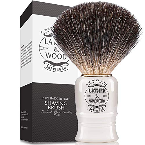 Pure Badger Shaving Brush -Premium Handmade in England - Simply the Best Luxury Men's Shave Brush (Pure Badger)