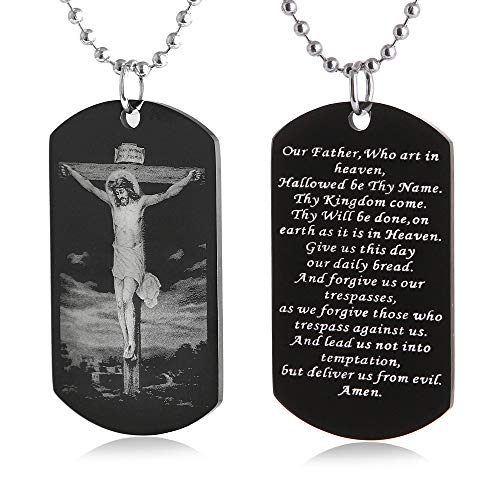 FAYERXL The Lords Prayer Christian Scripture Crosses Jesus Our Father Crusify Dog Tag Necklace