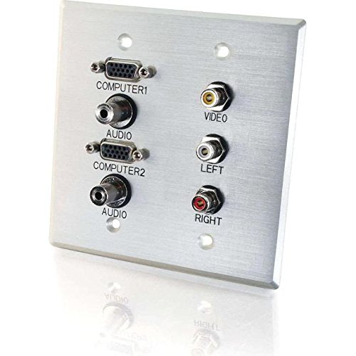 C2G/Cables to Go 40508 Double Gang HD15 (Two), 3.5mm (Two), Composite Video, Stereo Audio Wall Plate (Aluminium) by C2G