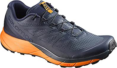 Salomon Sense Ride Trail Running Shoes, Men's - Navy Blazer/Bright Marigold UK7.5