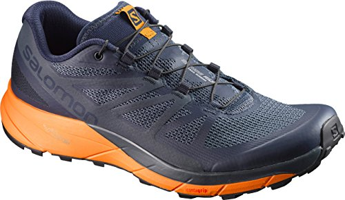 Salomon Sense Ride Trail Running Shoe - Men's Navy Blazer/Bright Marigold/Ombre Blue 10