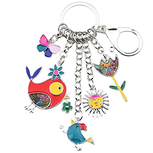 Marvin Cook Animal Enamel Bird Sun Flower Key Chain Women Keyrings Handbag Charms Keychain Multicolr