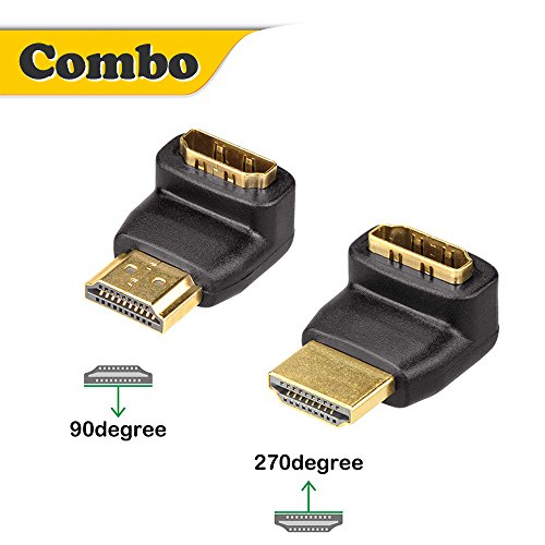 VCE Combo 3D&4K Supported HDMI 90 Degree and 270 Degree Male to Female Adapter (270 Angle Hdmi Adapter)