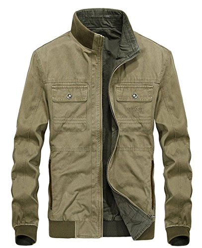 Chouyatou Men's Casual Stand Collar Full Zip Lightweight Reversible Bomber Jackets (XX-Large, Khaki) (Cotton Jacket Casual Twill)