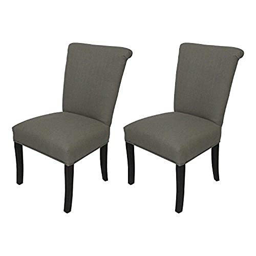 Sole Designs Klein Series Barcelona Collection Upholstered Roll Back Dining Chair Set of 2 , Grey
