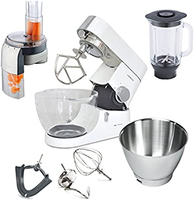 Kenwood Chef Titanium KMC 015 Limited Edition + top-paquete adicional de acero inoxidable + ralladores mecanismo AT340: Amazon.es