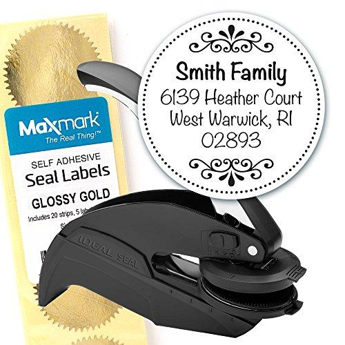 Custom Monogram Address Embosser - Personalized Round Seal with 50 Gold Seal Labels - Style EM027 (Custom Artwork Embosser)