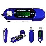 Azul 4GB Mini USB Reproductor de MP3, Grabadora de Voz - Funciona con Pilas, 3,5 mm Jack de Salida, Incluye Auriculares por Stuff4®