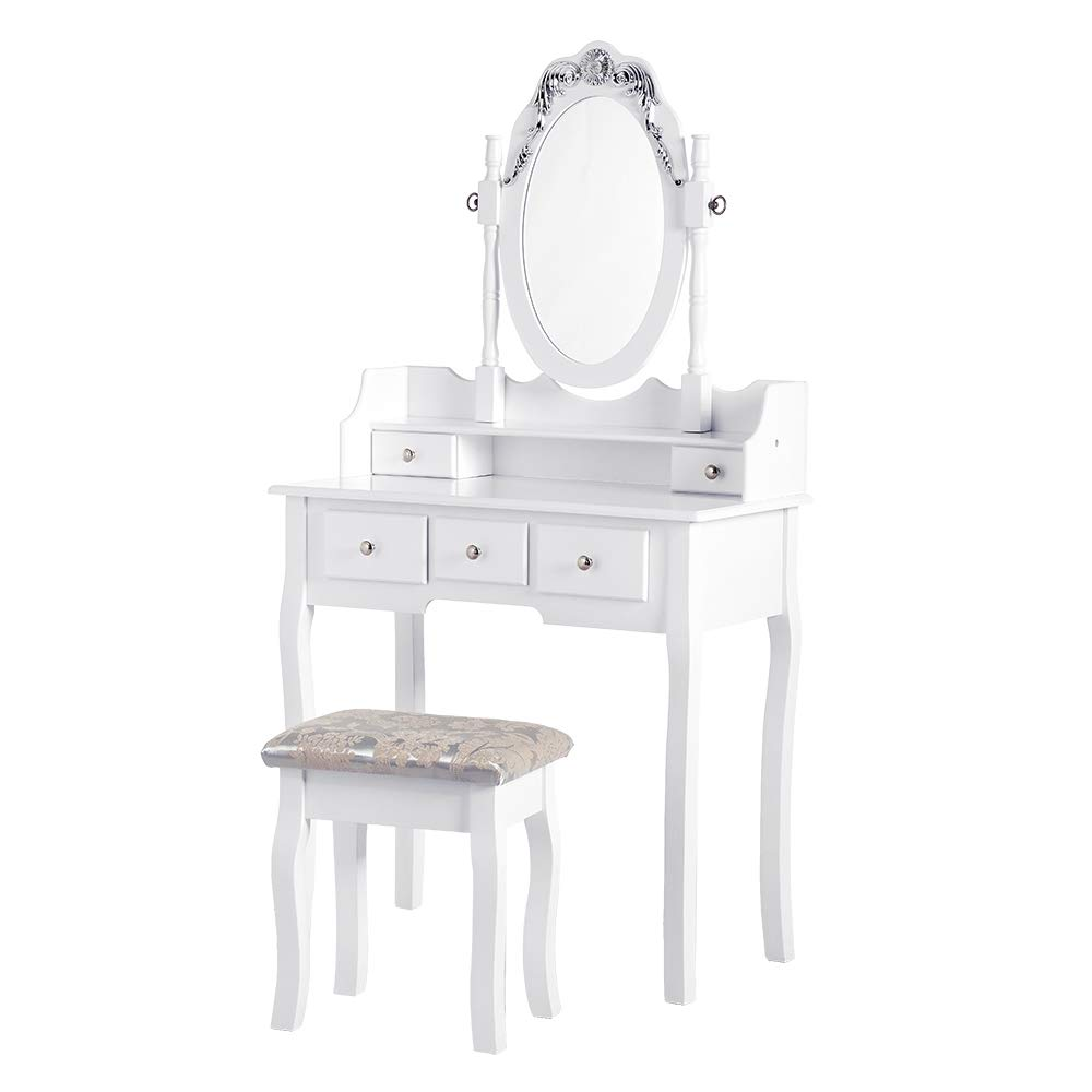 PaPaJet VanityTable Sets Makeup Dressing TableDesk withOval Mirror Cushioned Stool and 5 Drawers, for Girls Women Bedroom, White