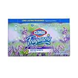 Clorox Fraganzia Fabric Softener Dryer Sheets | Scented Laundry Dryer Sheets for Great Smelling Clothes | Beautiful Lavender Scent Laundry Sheets, 105 Count - 6 Pack