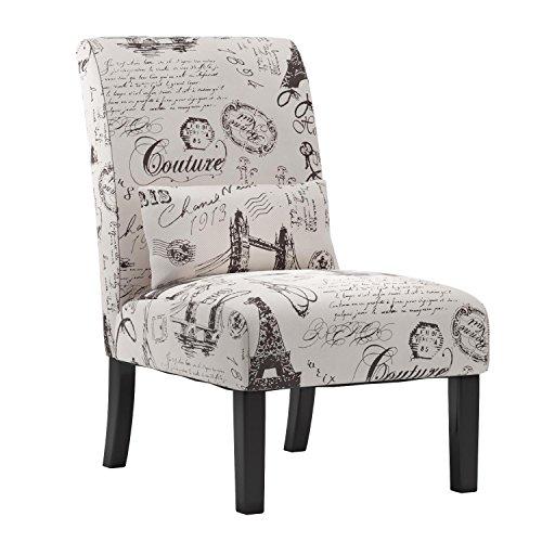 Roundhill Furniture AC162 Pisano Script Linen Print Fabric A