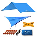 Vigor Waterproof Rainfly Large Tent Tarp for Camping and Snow Protection with Reflective Rope and Windproof Stakes, Blue