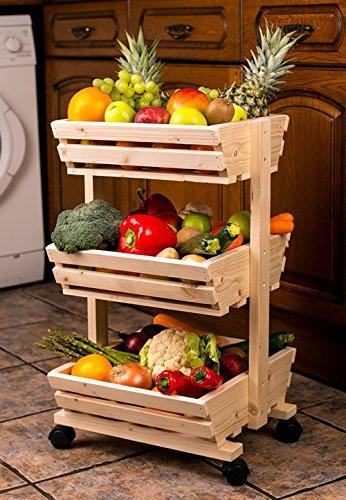 3 Tier Wooden Vegetable Rack Fruit Food Storage On The Wheels