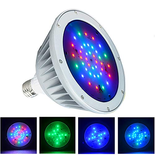 WYZM Waterproof LED Pool Light Bulb for Inground Swimming Pool,120V 40Watt,Color Changing,Fit in for Pentair and Hayward Pool Light Fixtures(120V RGB+White)