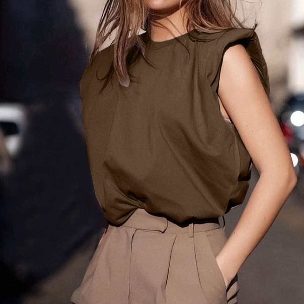MOTOCO Women's Stretchy Inner Sleeve Slim Solid Elegant Crew Neck Blouse Casual Tank Tops Brown