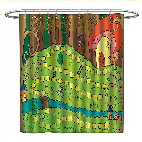 Kids Activity Shower Curtains 3D Digital Printing Board Game Style Design of Pathway to The Mushroom House in a Magical Forest Custom Made Shower Curtain W36 x L72 Multicolor -
