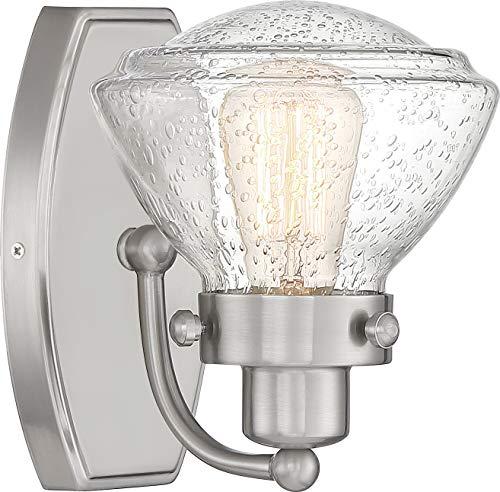 (Quoizel SCH8601BN Scholar Glass Schoolhouse Wall Sconce Lighting, 1-Light, 100 Watt, Brushed Nickel (9