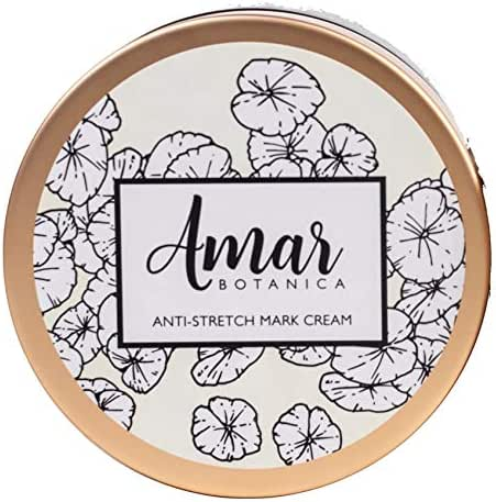 Amar Botanica Anti-Stretch Mark and Removal Cream | OBGYN Recommended & Safe for Pregnancy and Nursing | Featuring Centella Asiatica and Shea Butter | Vegan, Paraben-Free, Organic Formulation 8oz