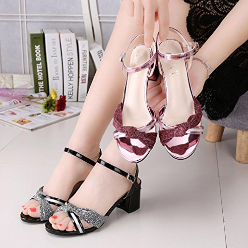 Transer Elegant Summer Mid High Heel Sandals- Ladies Office Work Shoes - Women Buckle Wedding Party Shoes Gold fW5dPtx