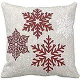 Christmas Sparkling Red Snowflakes Throw pillow case 18*18