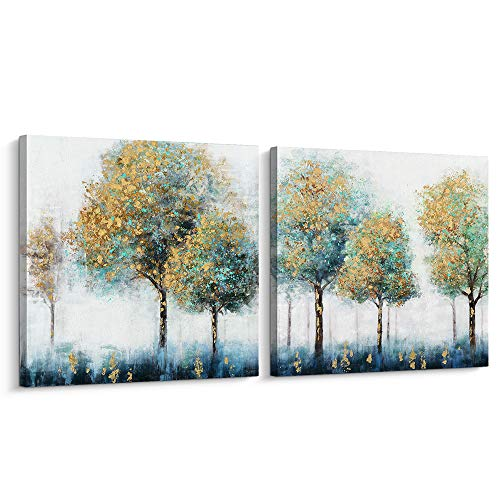 - Pi Art Canvas Wall Art Abstract Shining Gold and Green Trees Painting Hand Painted on Canvas Print with Gold Foil Modern Home Decor Picture for Wall (32x32 inch, Set)