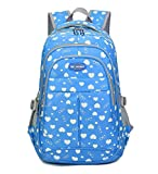 Fanci Teenager Girls Love Heart Print Backpack School Student Laptop Book Bag (blue)
