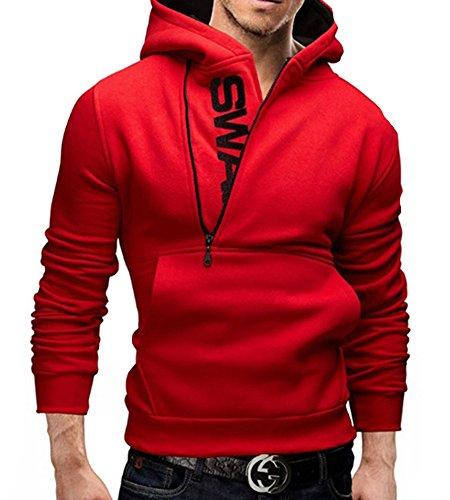 Slim Hoddie Sweat Chaud rouge Zippé Capuchon Homme A Manche Avec Tops Manteau Pull Tomwell Demi À Longue Hiver Capuche awqvpA