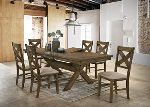 Raven Wood Dining Set: Butterfly Leaf Table, Six ()