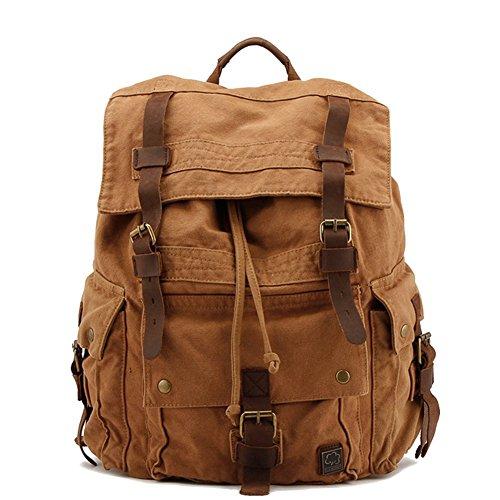 Weinlese Segeltuch Rucksack Daybacks für Studenten Uni Schulrucksack Wandern Reisen Rucksack geeignet für Ipad Air, 17 Zoll Laptop