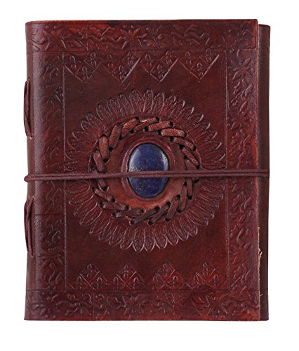 ADIMANI Antique Handmade Brown Leather Diary/Travel Writing Journal Notebook with Strap/Refillable - Size 9x5 inches by ADIMANI