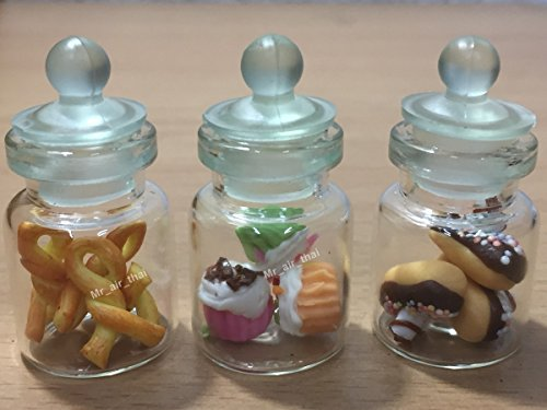 3pc Miniature Food Cookie Cake Chocolate Candy Dollhouse Donut in Clear Glass Mini Bottle fruit Food #MF042