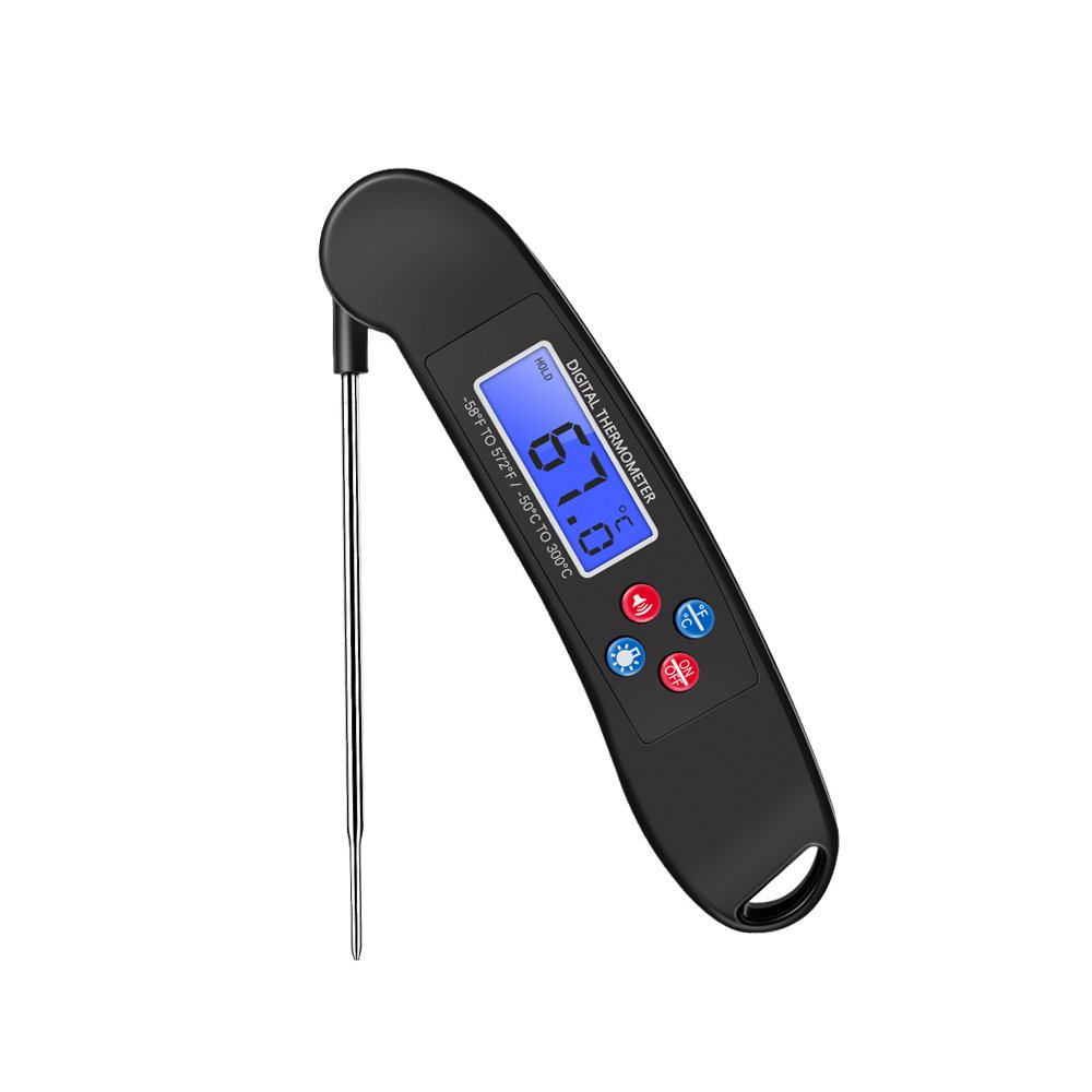 Meat Thermometer, Prous FT01 Folding Digital Food Cooking Thermometer with Probe Instant Read Bright Backlight LCD Display and Voice Function Free Battery for Grill, Milk, Tea, BBQ, and Bath Water