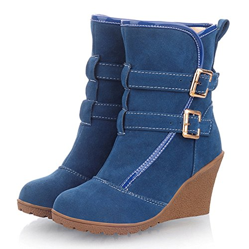 fleece Buckle Fashion Blue Women's Boots Ankle Heels Lining Wedges with fereshte zT0w5