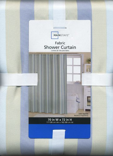 Image Unavailable Not Available For Color Herringbone Stripe Blue Fabric Shower Curtain Tan Navy