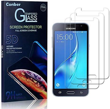 Conber Panzerglasfolie für Samsung Galaxy J3 2015, [3 Stück] 9H gehärtes Glas, Kratzfest, Blasenfrei, Hülle Freundllich Hochwertiger Panzerglas Schutzfolie für Samsung Galaxy J3 2015