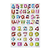 Meshion Home Learning Preschool Educational Development Colorful 26-Piece Alphabets&Number Wooden Peg Puzzle Bundle Shape Toys and Games for Age 2-7 Years Old Child Kids Toddlers Baby Boys Girls