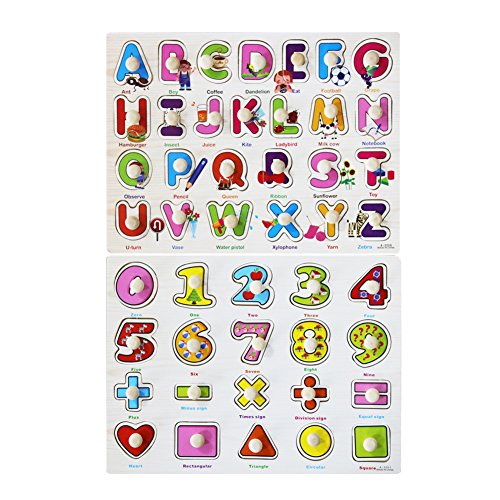 Muxihosn Home Learning Preschool Educational Development Colorful 26 Pcs Alphabets and Number Wooden Peg Puzzle Shape Toys and Games for Age 3-7 Years Old Child Kids Toddlers Baby Boys Girls