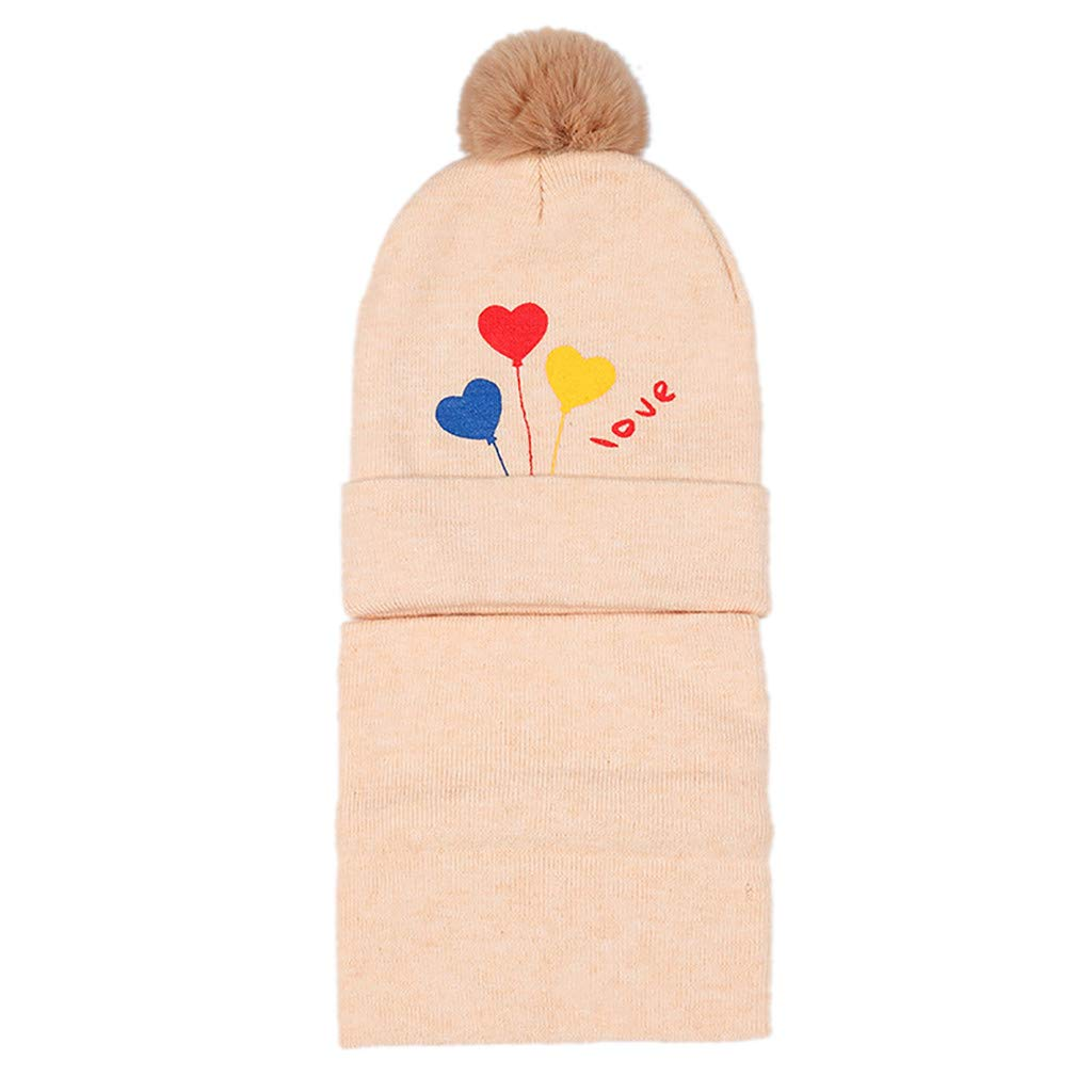 Baby Cap,YJYdada Hairball Twist Baby Girls Boys Cartoon Letter Wool Cap Warm Winter Knit Cap Red