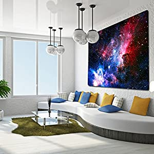 """Starry Sky Tapestry, Home 3D Cosmic Galaxy Tapestry, Living Room Bedroom Decoration Tapestry, Mattress, Tablecloth (51.2""""X59.1"""", Starry Sky)"""