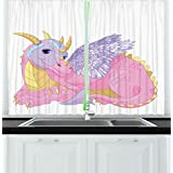 Cartoon Kitchen Curtains by Ambesonne, Illustration of Cute Lady Dragon Mythical Fairytale Fantasy Animal, Window Drapes 2 Panels Set for Kitchen Cafe, 55W X 39L Inches, Light Pink Lavander Yellow
