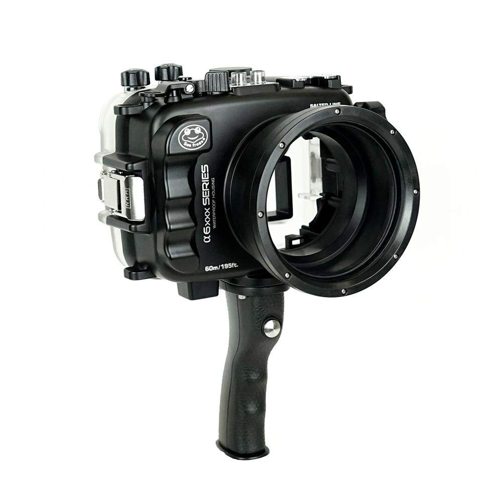 SeaFrogs 60M/195FT Waterproof housing A6xxx series Salted Line (Black) with pistol grip For Sony a6500 a6300 by KitDive (Image #1)