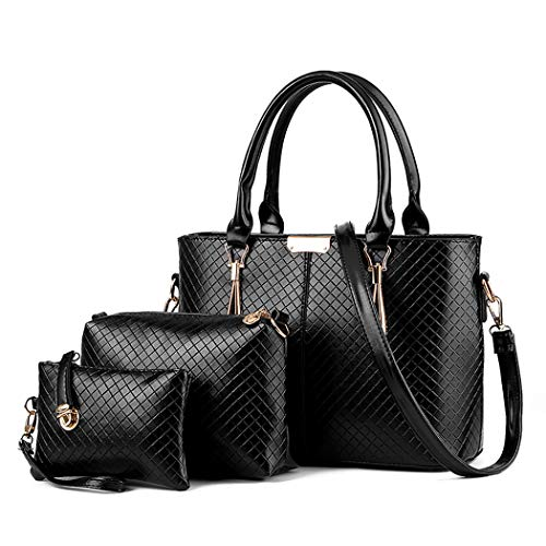 (XMLZG Women's PU Leather Top Handle Shoulder Handbag Purse Crossbody Tote Bag Set Black )
