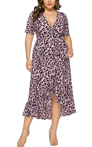 Eternatastic Womens Leopard Printed Wrap Dress Plus Size Long Dresses XL Dark-Grey
