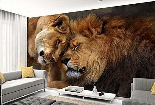 Colomac Wall Mural 3D Cute Lion Cuddling With Each Other Mural Suitable for Living Room Bedroom Study Sofa TV Background Family Bar Cafe Wallpaper 98.4 Inch x 78.8 Inch