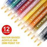 Acrylic Paint Marker Pens - Medium Point Tip Markers For Rock Painting, Mug Design, Ceramic Art, Glass, Metal, Wood, Fabric, Crafting, Leather Set Not Waterproof Of 12 Colors For Kid, Teen, Children, Adult