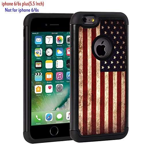 iPhone 6 Plus Case, iPhone 6s Plus Case,Rossy Retro Vintage Old USA American Flag Design Shock-Absorption Hybrid Dual Layer Armor Defender Protective Case Cover for Apple iPhone 6/6S Plus 5.5 (Flag Phone)